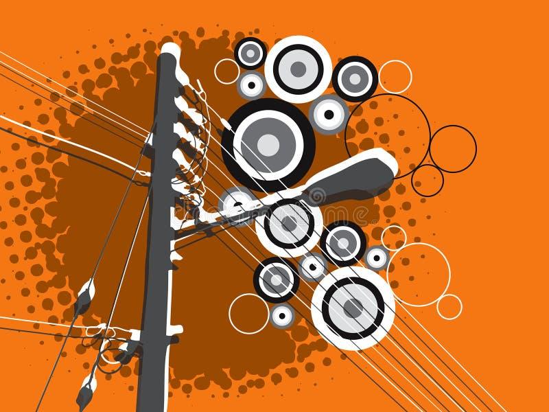 Retro de lamppost van de grungecirkel stock illustratie