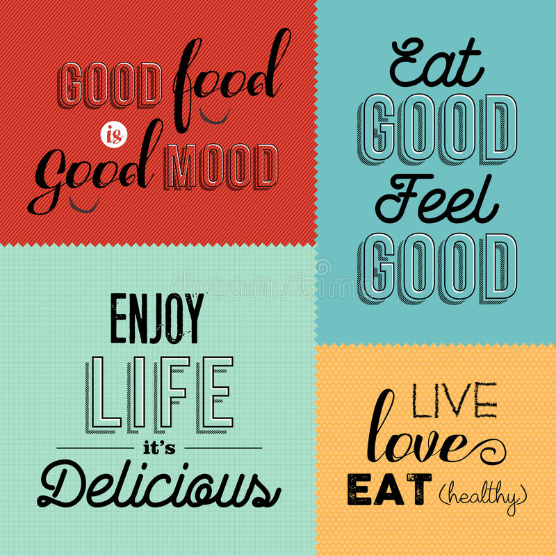 Retro de ontwerpenreeks van het voedselcitaat kleurrijke etiketten royalty-vrije illustratie