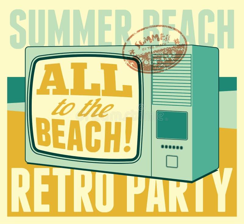 Retro de partij typografische affiche van het de zomerstrand Vector illustratie royalty-vrije illustratie