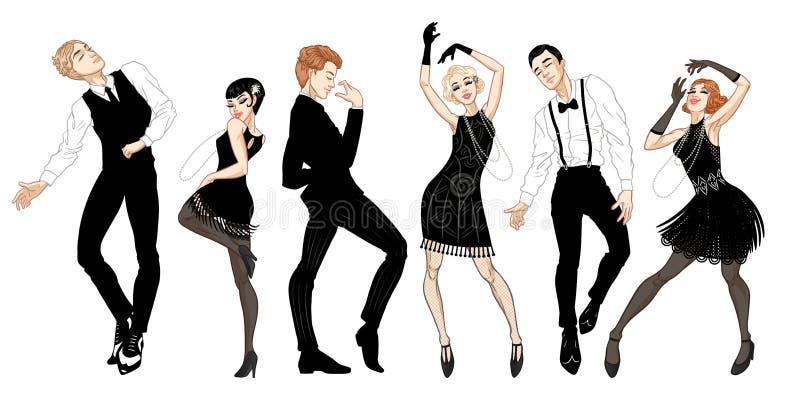 Retro de de partijreeks, mannen en vrouwen kleedden zich in jaren '20stijl dansend, vinmeisjes, knappe kerels in uitstekende kost stock illustratie