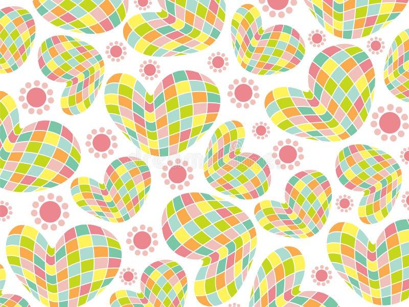 Retro de pastelkleurharten van het pretmozaïek stock illustratie