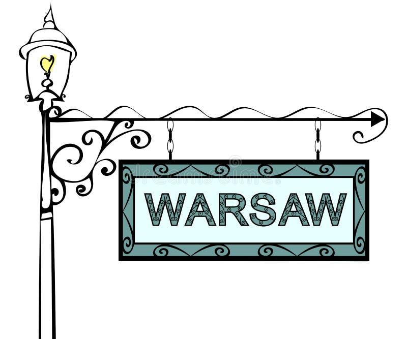 Retro de wijzerlantaarnpaal van Warshau vector illustratie