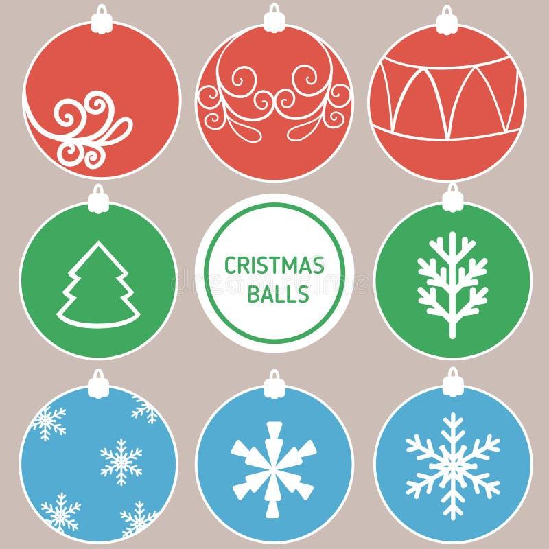 Retro decoratieve Kerstmisballen vector illustratie