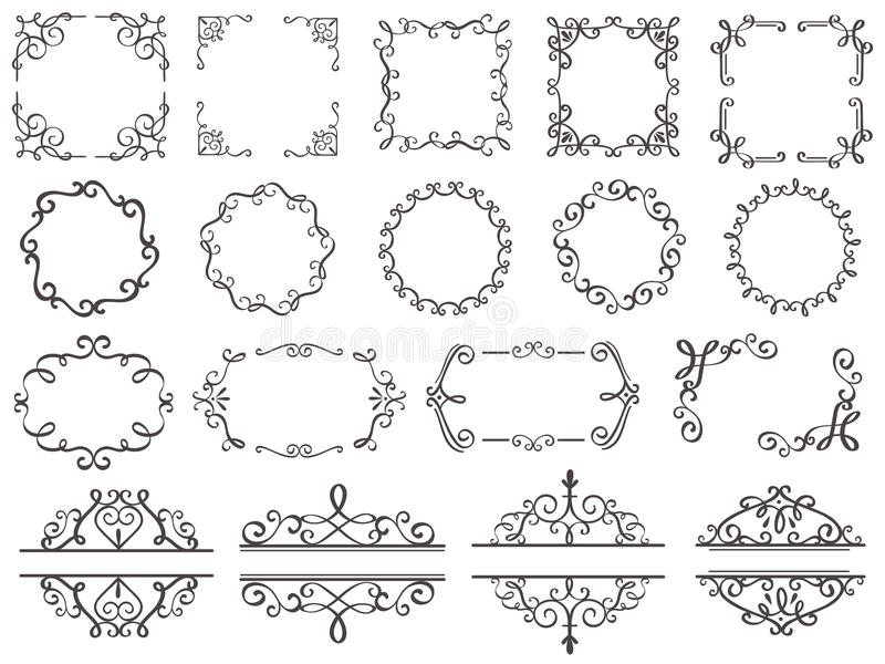 Retro decoration frames. Vintage filigree swirls border, elegant decorative frame and ornate divider classic elements stock illustration