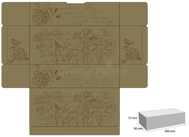 Download Retro Decorative Box With Flowers Stock Vector - Image: 12156653