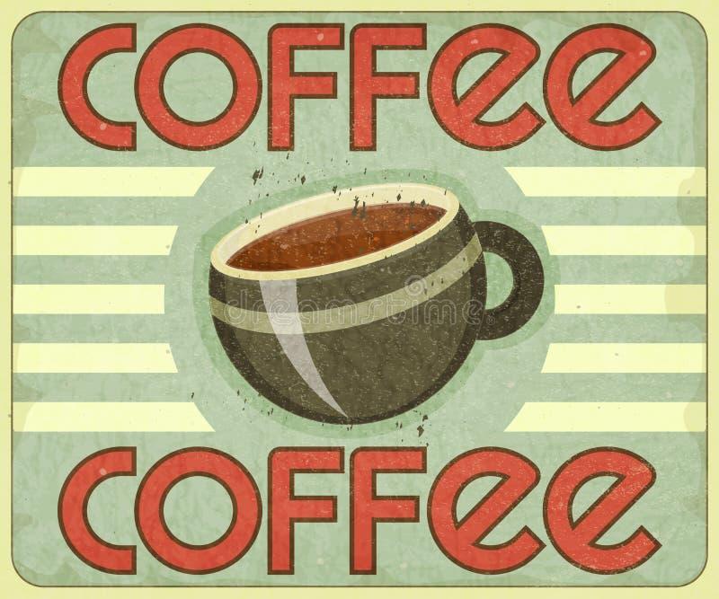 Retro Dekking voor het Menu van de Koffie stock illustratie