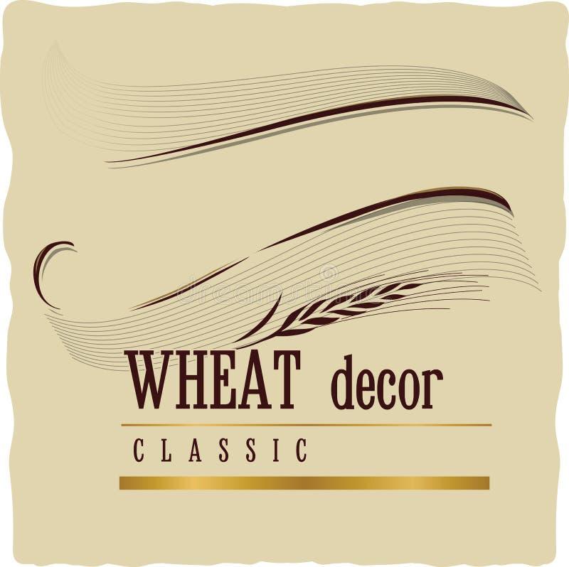 Retro- Dekorationsfahne der Weinlese mit den Weizenähren auf Handwerk beige b lizenzfreie abbildung