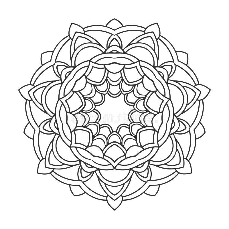 Retro dekorativ mandala för tappning Rund symmetrisk modell royaltyfri illustrationer