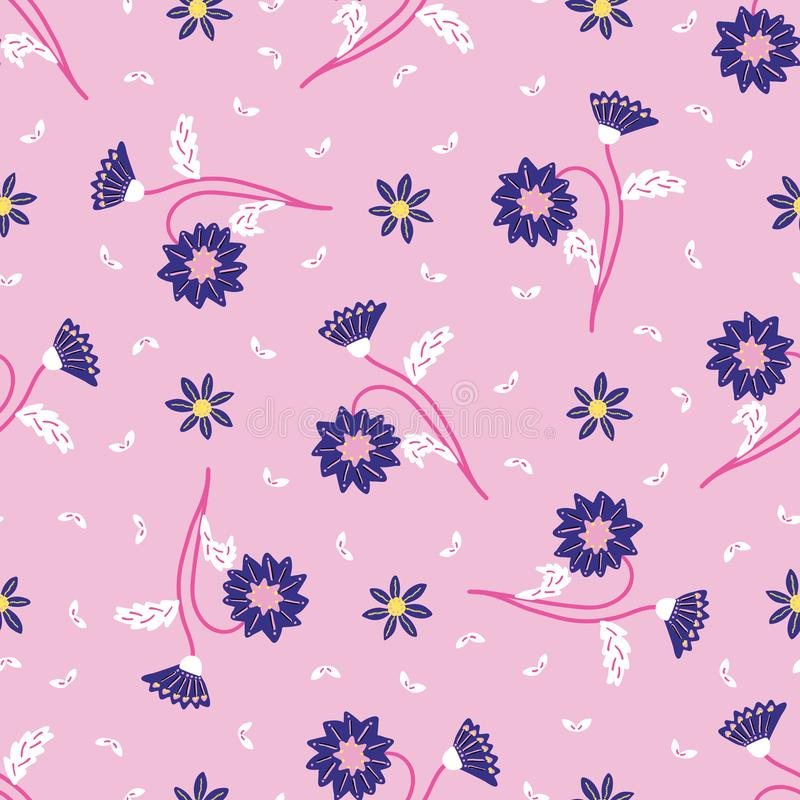 Retro delicate floral daisies seamless pattern. All over print vector background. Pretty summer 1950s fashion style. Trendy stock illustration