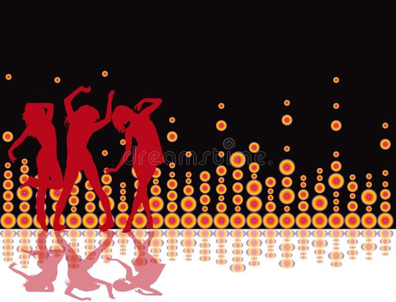 retro deltagare för illustration för bakgrundsdiskoreklamblad stock illustrationer