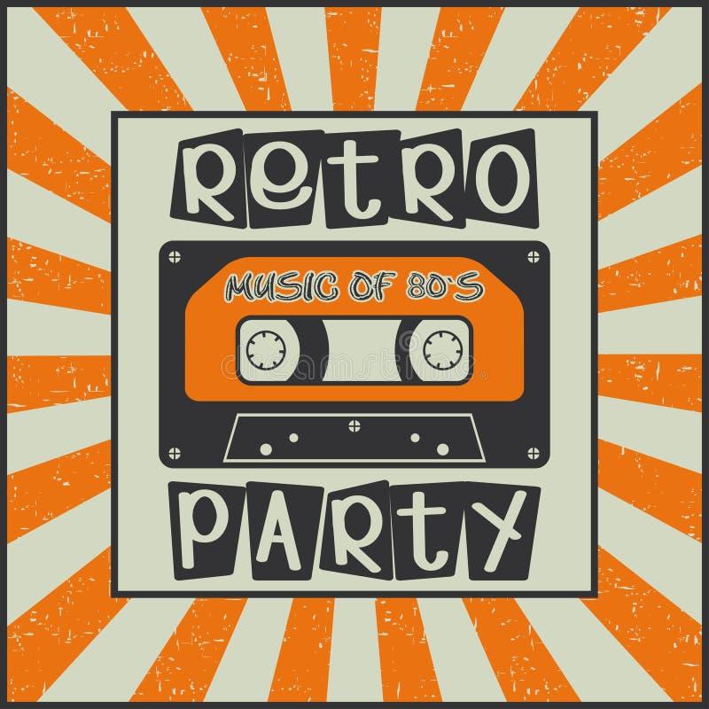 retro deltagare Musik av 80 ` s Tappningadvertizingaffisch med en kassett royaltyfri illustrationer