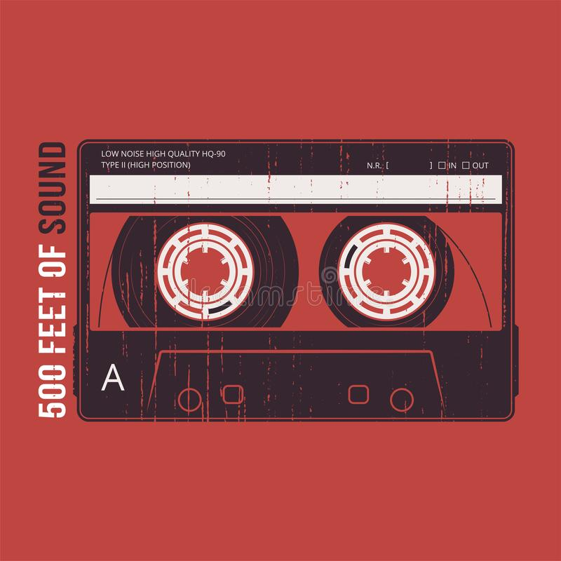 Retro design with a cassette tape. T-shirt and apparel vector pr stock illustration