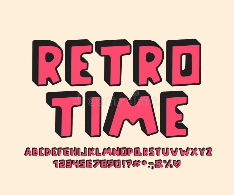 Retro design för alfabet 3D Vektorbokstäver, nummer och skiljetecken stock illustrationer