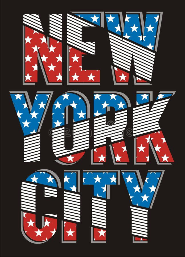 Retro design för New York City flaggatypografi, vektor royaltyfri illustrationer
