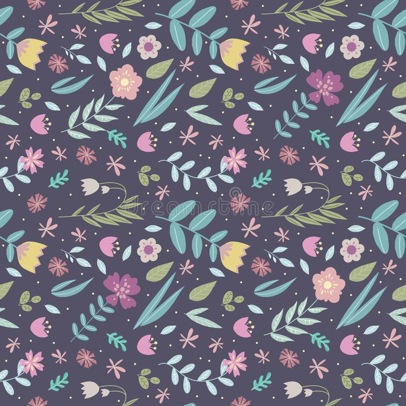 Retro design floral seamless pattern with many differet colorful stylized flowers and leaves on dark blue background. Drawing royalty free illustration