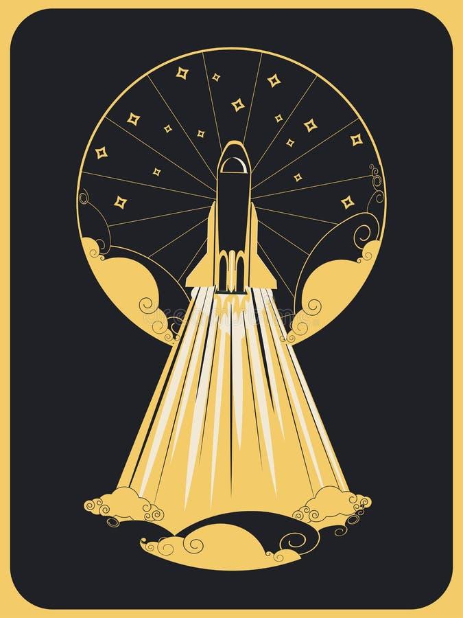 Retro design of flying space shuttle stock illustration