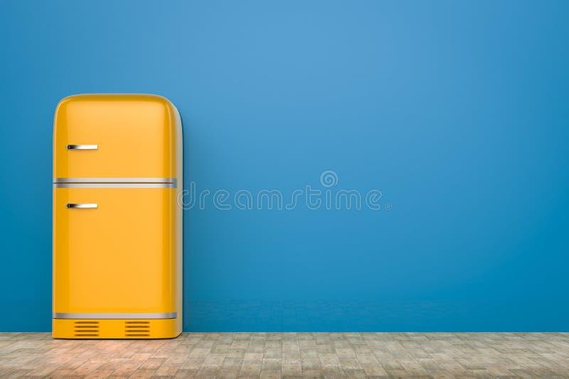 Retro design fridge. 3d rendering retro design fridge with blank space stock illustration