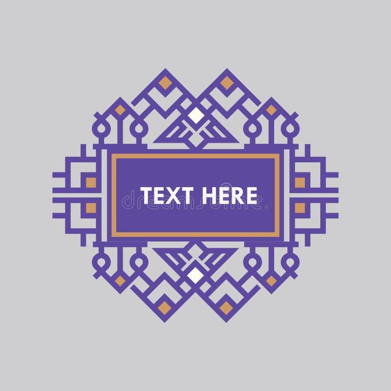 Retro- Design-Luxusinsignien-Rahmen-Schablone für Firmenzeichen Geschäftszeichen, Identität für Restaurant, Abgabe, Butike, Hotel vektor abbildung