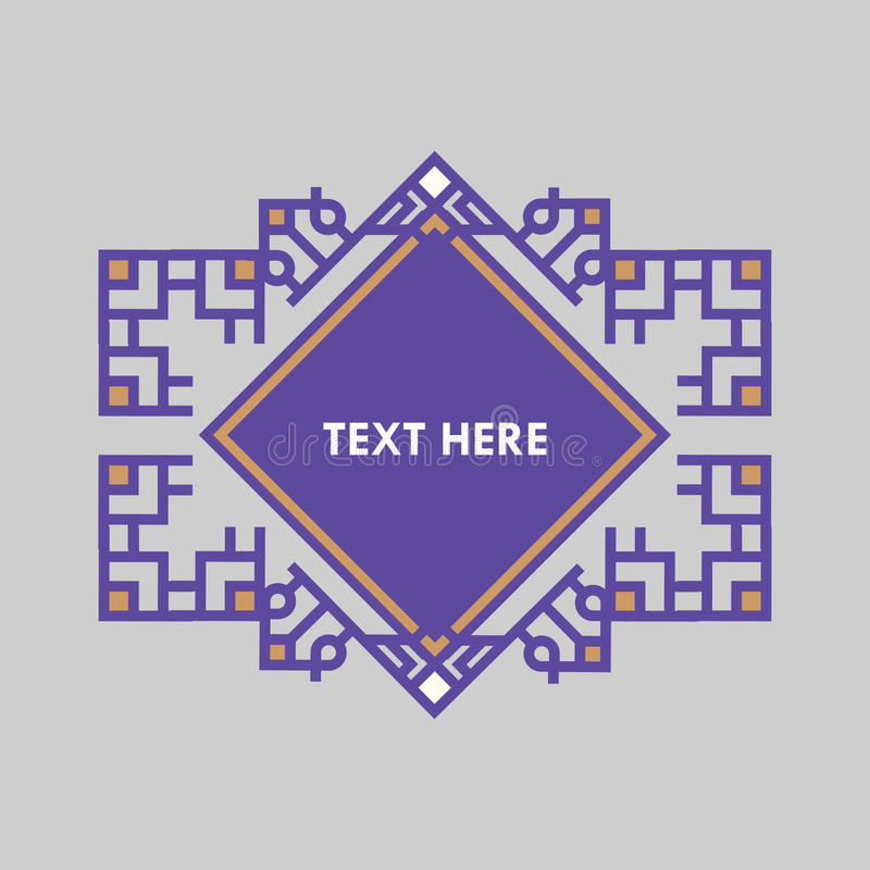 Retro- Design-Luxusinsignien-Rahmen-Schablone für Firmenzeichen Geschäftszeichen, Identität für Restaurant, Abgabe, Butike, Hotel lizenzfreie abbildung