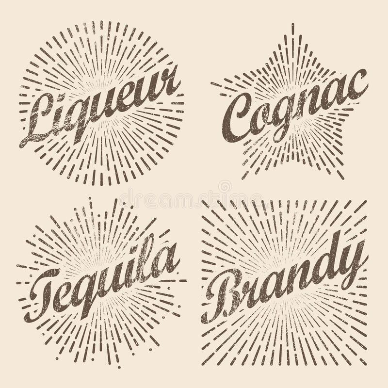 Retro design sunburst, radiant starburst for brandy and alcohol. Vector art illustration royalty free illustration