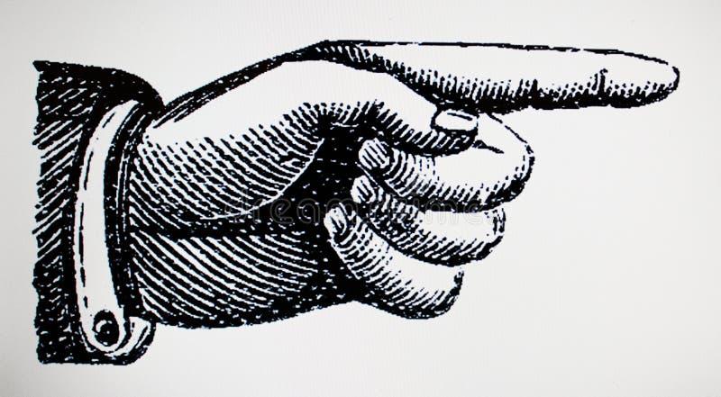 Retro destra d'annata vittoriana del segno del punto della mano illustrazione di stock