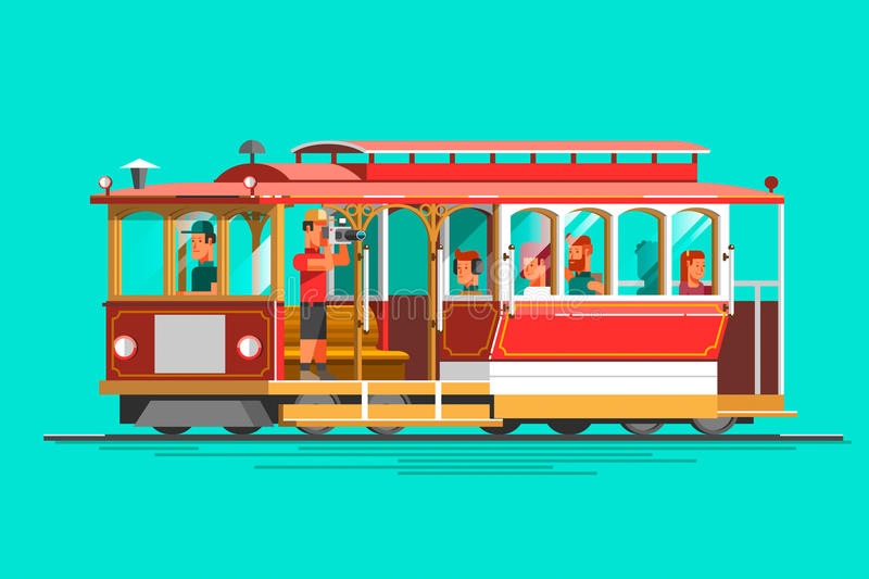 Retro detailed vector cable car, 3d view, isolated. Transit vintage graphic element on cable rail car. Urban lifestyle, touristic and sightseeing graphic royalty free illustration