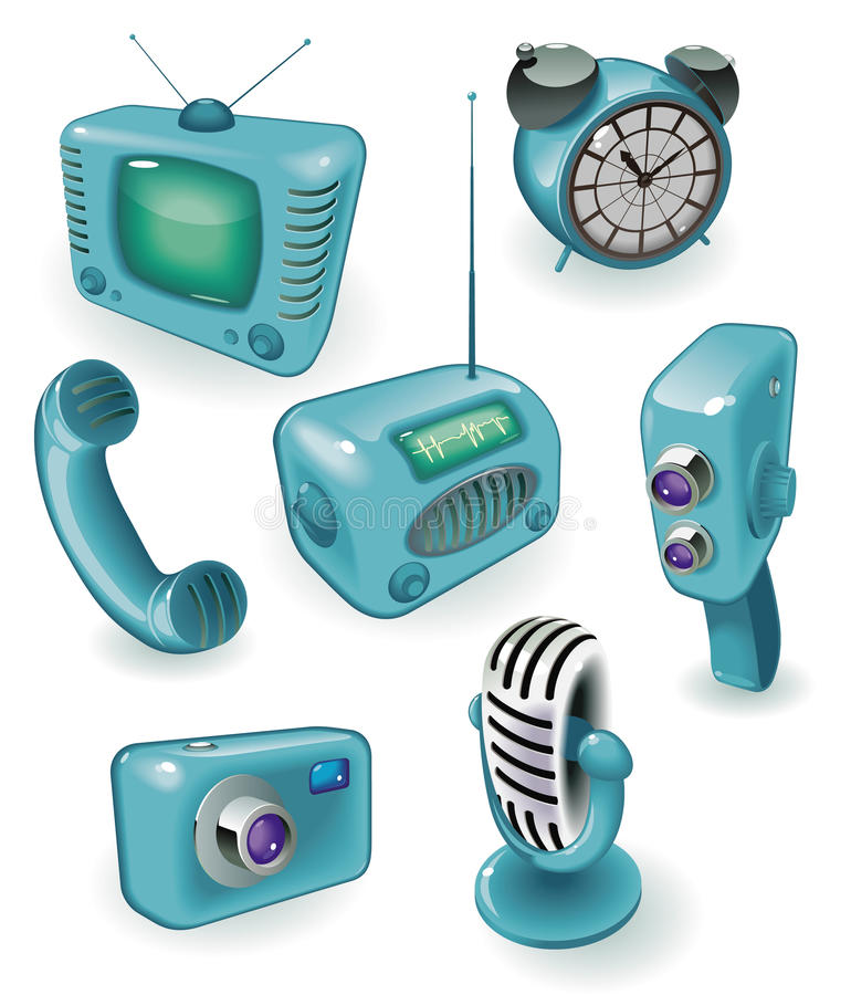 Retro devices. Blue icons of retro devices: media, time and communications. Vector illustration royalty free illustration