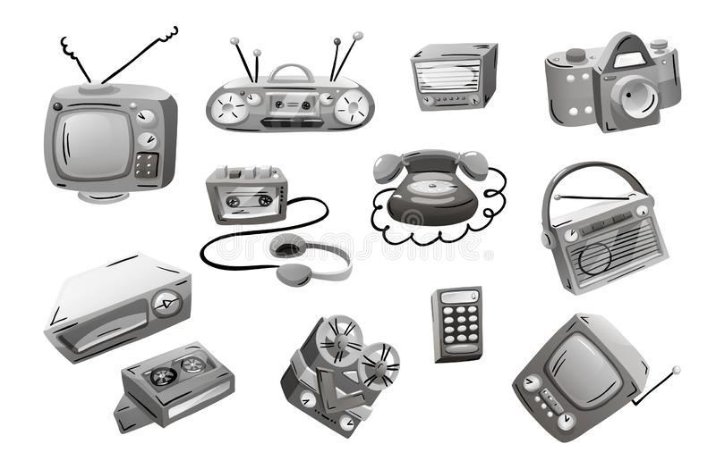 Retro devices in mixed style, flat cartoon comics. Retro devices in cartoon comics style, black and white. Vector illustration isolated on white background royalty free illustration