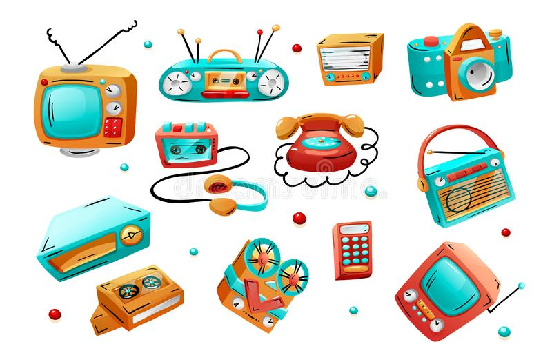 Retro devices in mixed style - flat cartoon comics. Vector illustration isolated on white background. Retro devices in mixed style - flat, cartoon, comics royalty free illustration
