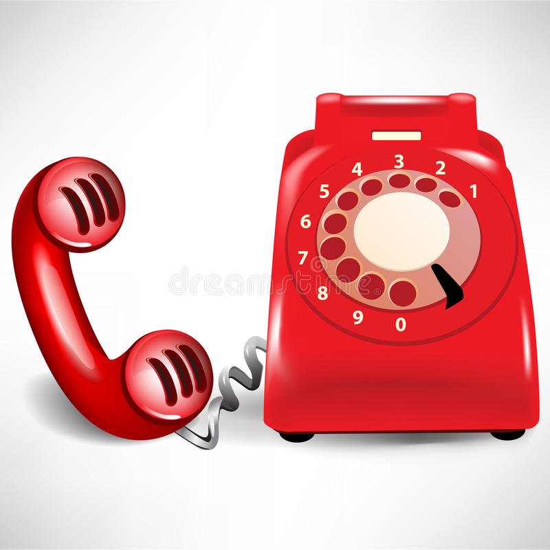 Retro dial telephone and receiver royalty free illustration