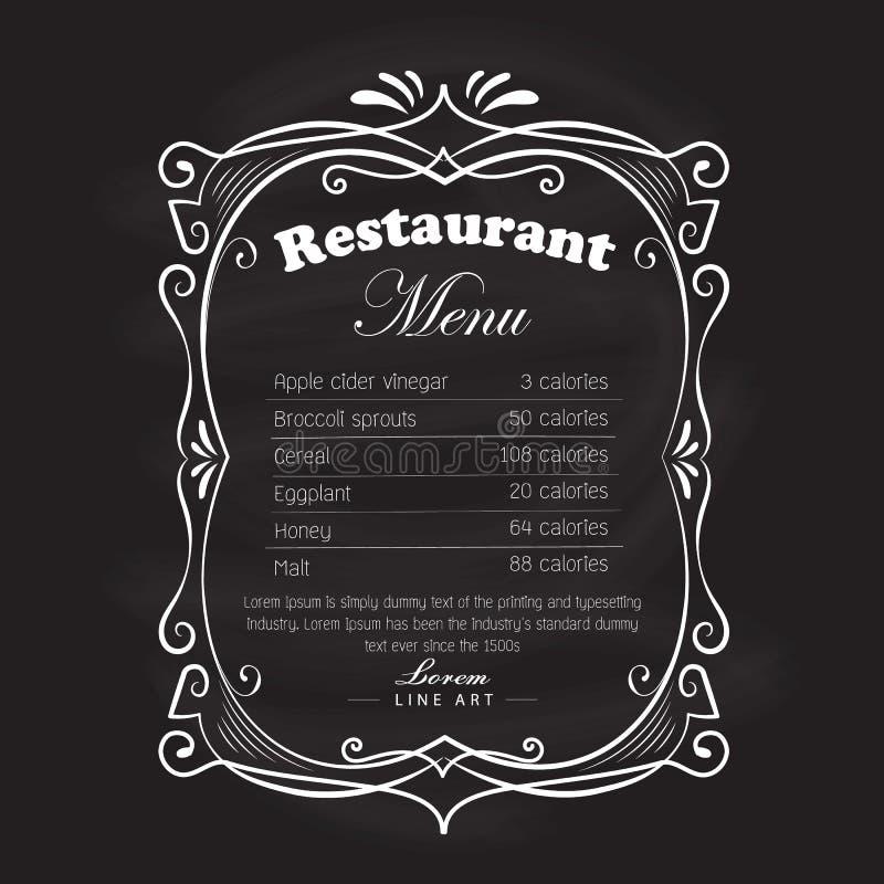 Retro dibujada mano del vintage de la pizarra del marco del menú del restaurante stock de ilustración