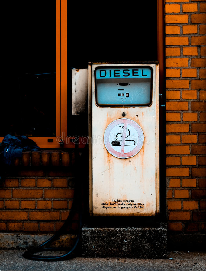 Retro diesel gas station royalty free stock photography