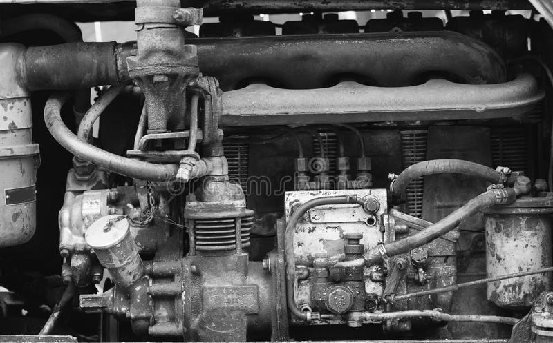 Retro diesel motor of tractor. Black and white photo royalty free stock photography