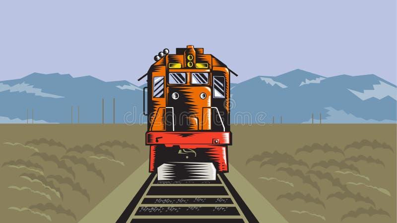 Retro diesel- träsnitt för drevframdelbaksida royaltyfri illustrationer