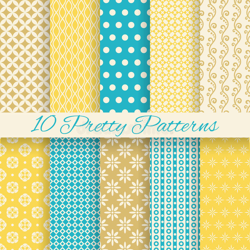 Retro different vector seamless patterns royalty free illustration