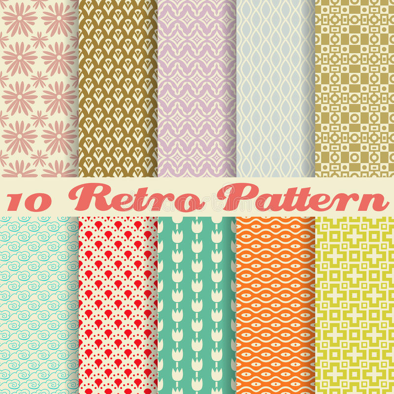 Free Retro Different Vector Seamless Patterns (tiling). Stock Photography - 32475812