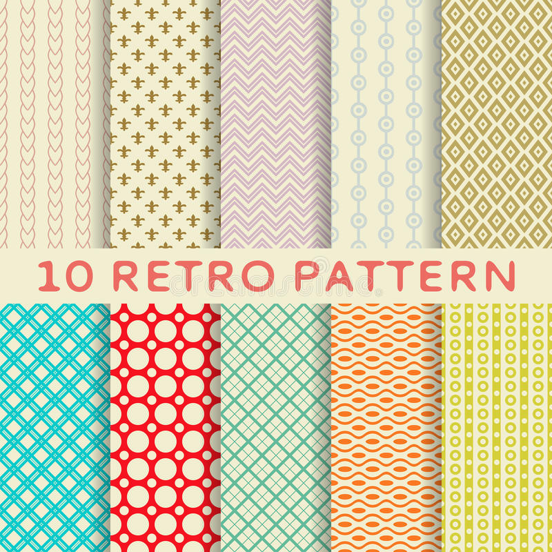 Download Retro Different Vector Seamless Patterns (tiling). Royalty Free Stock Images - Image: 32296489