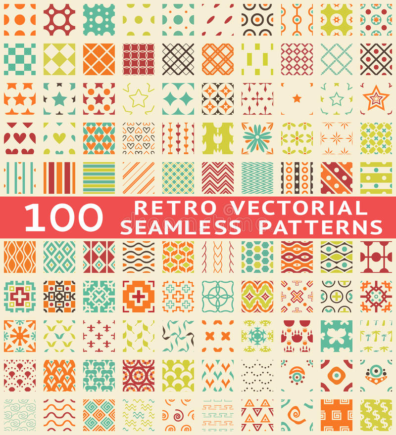 Free Retro Different Vector Seamless Patterns (with Royalty Free Stock Images - 34236289