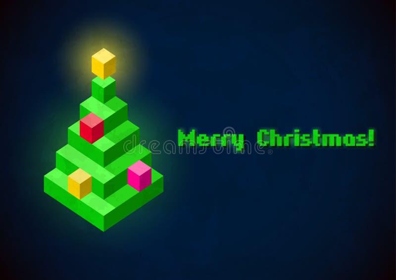 Retro- digitale Karte des Weihnachtsbaums lizenzfreie abbildung