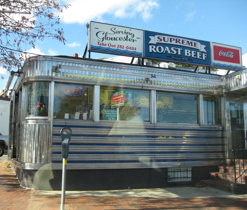 Retro Diner. A beautiful retro metal diner from many years past is a very popular spot to eat in Gloucester,Mass stock photos