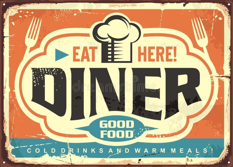Retro diner restaurant tin sign design stock illustration