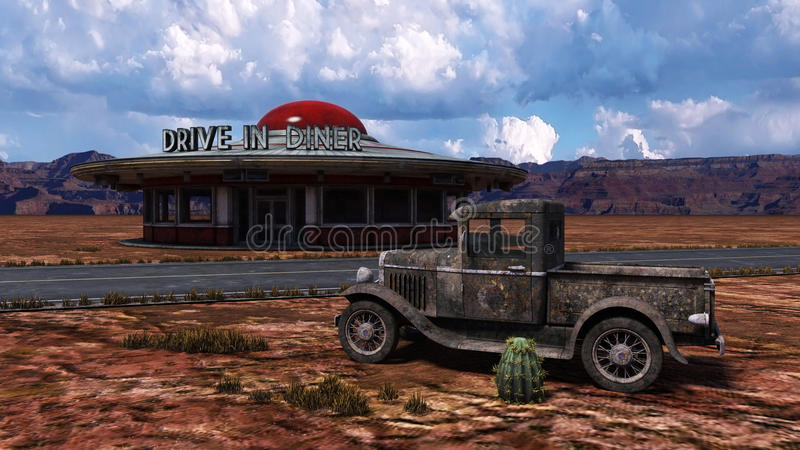 Retro Diner Route 66 Illustration. Illustration of an old retro diner restaurant old Route 66. An antique pickup truck sits rusting next to the restaurant that stock image