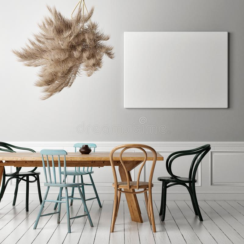 Retro Dining room with blank poster stock photo