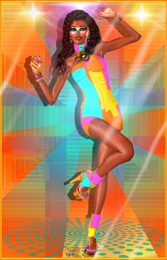 Retro disco dance girl royalty free illustration