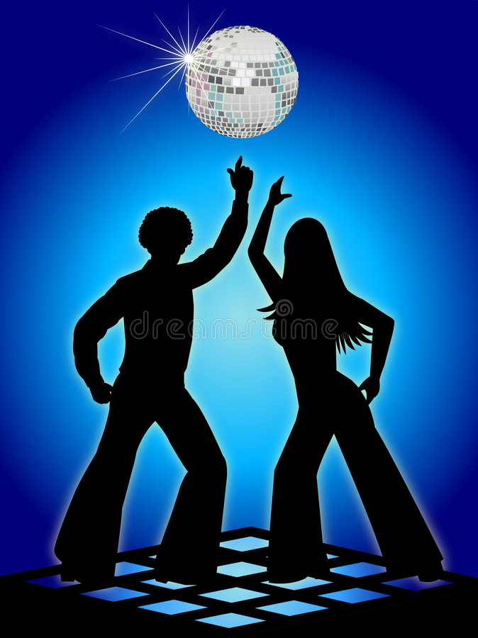 Retro Disco Dancers Blue/eps stock illustration