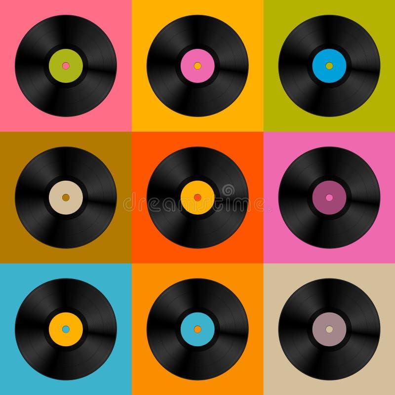 Retro, disco del disco de vinilo del vector del vintage stock de ilustración