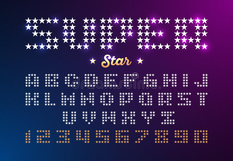 Retro disco style font made of stars royalty free illustration