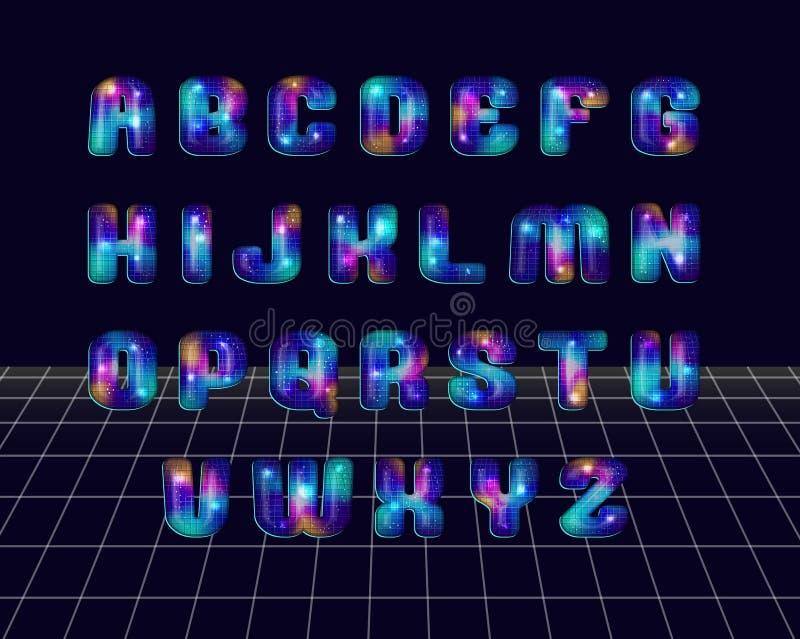 Retro disco styled alphabet vector illustration