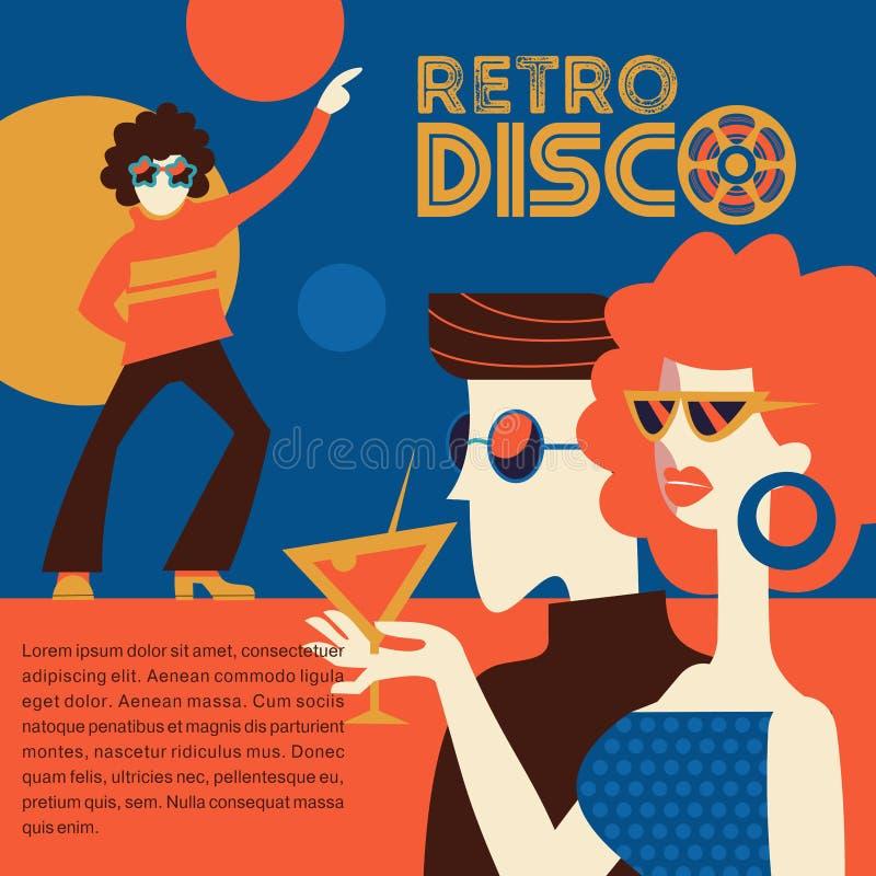 Retro discopartij Vector illustratie stock illustratie