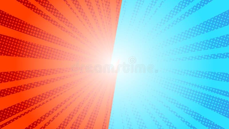 Retro disegno del kitsch dell'illustrazione di vettore del sole dei raggi di Pop art blu comico del fondo Fondo comico CONTRO royalty illustrazione gratis